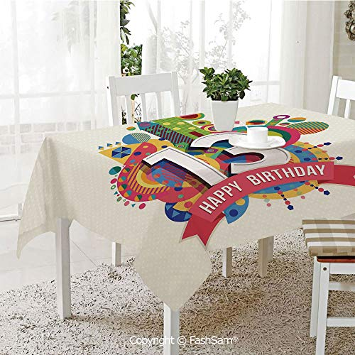 FashSam Tablecloths 3D Print Cover Artistic Design Greeting Label Dots Geometric Vibrant Fun Graphic Party Home Kitchen Restaurant Decorations(W60 xL84) ()