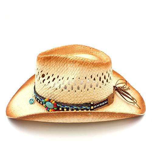 ZHJTMC Sombrero de Vaquero Sombrero de Paja Sombrero de Vaquero Tejido a Mano  Sombrero de Vaquero Occidental con Borla Ribbion (Color   Natural 38ac4e47c82