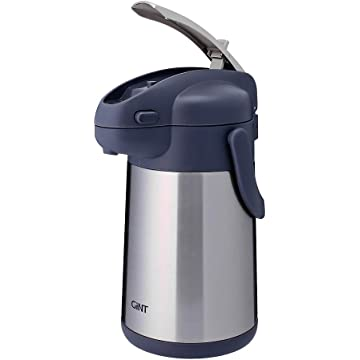 GiNT Coffee Airpot Thermal Carafe Dispenser with Pump, Stainless Steel Vacuum Insulated Lever-Action Airpots for Coffee to Keep Hot/Cold Retention, 75oz, Silver
