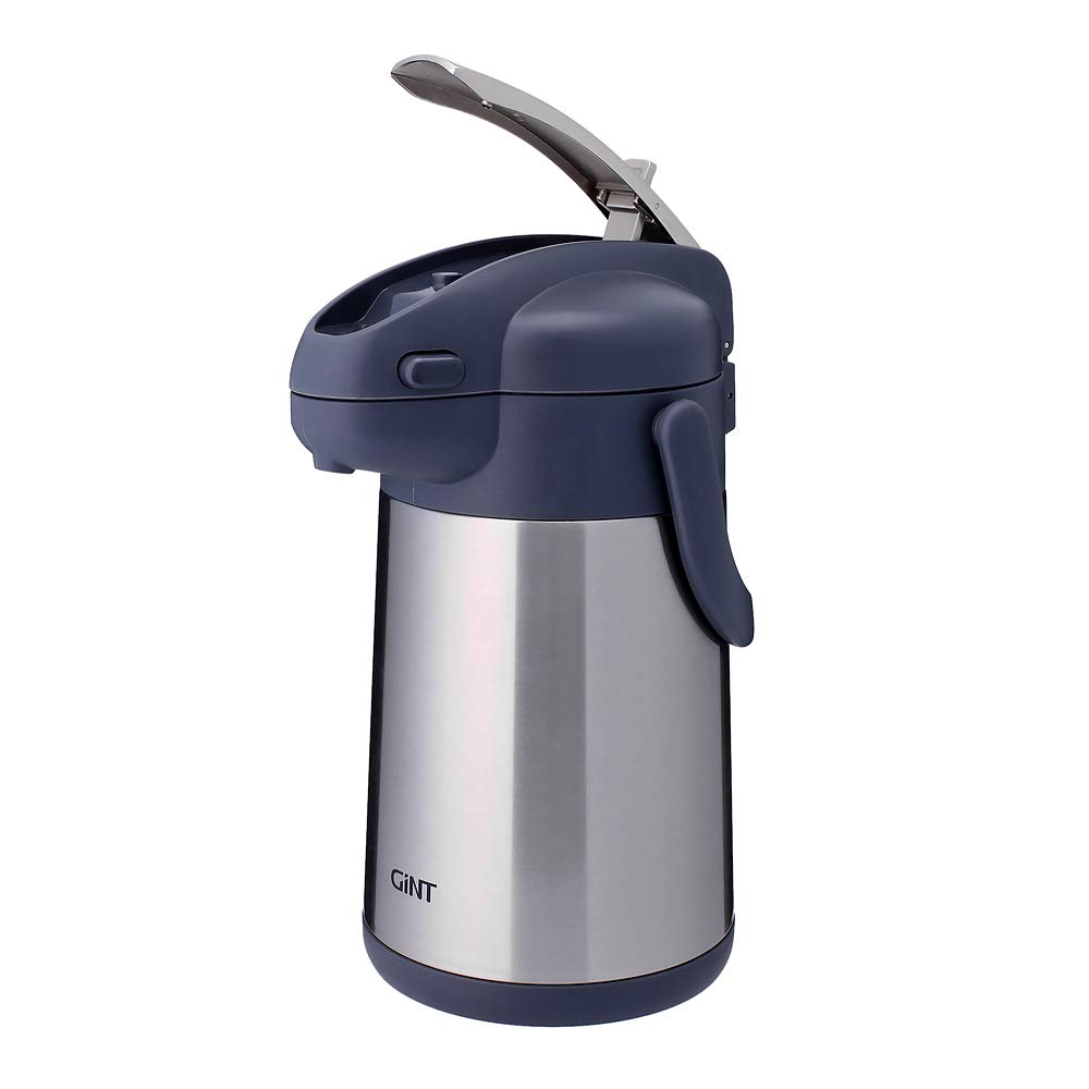 GiNT Coffee Airpot Thermal Carafe Dispenser with Pump, Stainless Steel Vacuum Insulated Lever-Action Airpots for Coffee to Keep Hot/Cold Retention, 75oz, Silver by GiNT