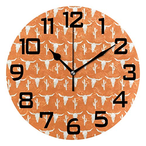 Longhorn Cattle Cow Texas Skull Orange Cactus Round Acrylic Wall Clock, Silent Non Ticking Battery Decorative Home Kitchen Classroom Office School ()