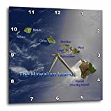 3dRose dpp_55408_1 View of The Hawaiian Islands Wall Clock, 10 by 10-Inch For Sale