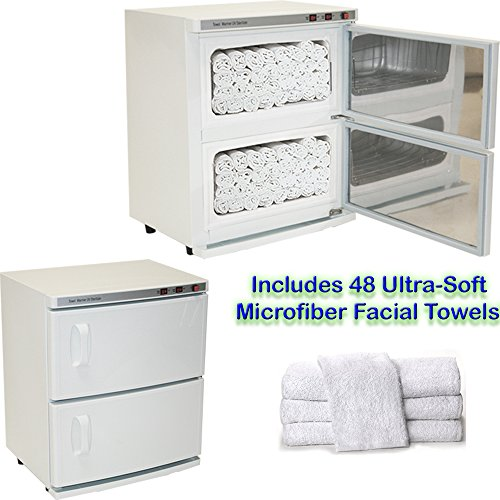 High Capacity Double-Decker Hot Towel Cabinet & Ultraviolet Sterilizer 48 Towels Included Salon Spa Beauty Equipment by LCL Beauty