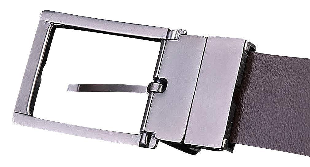 Celino Men Black 1.38 Wide Smooth Tough Genuine Leather Metal Pin Buckle Belt