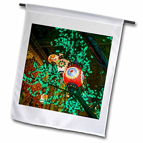 Rotterdam Outdoor Light - 3dRose Danita Delimont - Lamps - Netherlands, Rotterdam. Middle east lamps and lights decorate a tree. - 18 x 27 inch Garden Flag (fl_277788_2)
