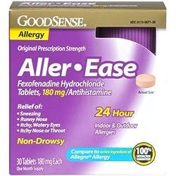 GoodSense Aller-Ease Fexofenadine Hydrochloride Tablets, 180 mg/Antihistamine, 30-count