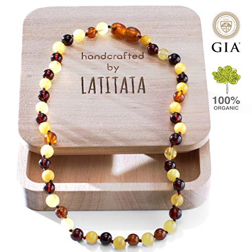 Baltic Amber Teething Necklace for Baby - Round Raw Organic Baltic Amber Beads - Anti Inflammatory Drooling & Teething Pain Relief - Certificated Natural Jewelry for Babies and Toddlers - Handcrafted