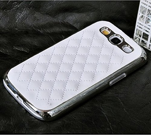 Samsung Galaxy S3 Case, [Elegant Series] Luxurious Quilted Pattern Lamb Skin Leather Chrome Case for Samsung Galaxy S3 S III I9300 (White)