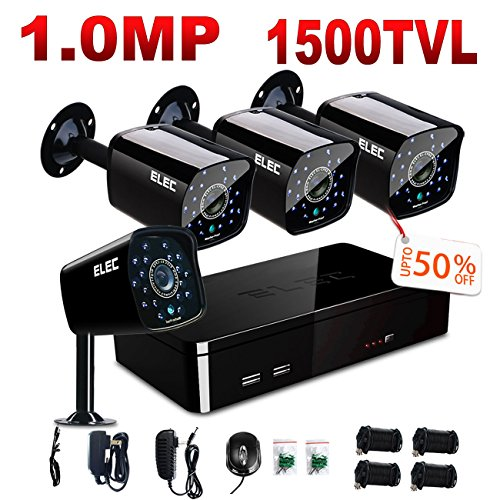 ELEC 4CH 960H DVR with 4PCS 1500TVL Surveillance Camera Outdoor Home Security Video System 18PCS IR-LEDs no Hard Drive (Complete Home Security System)