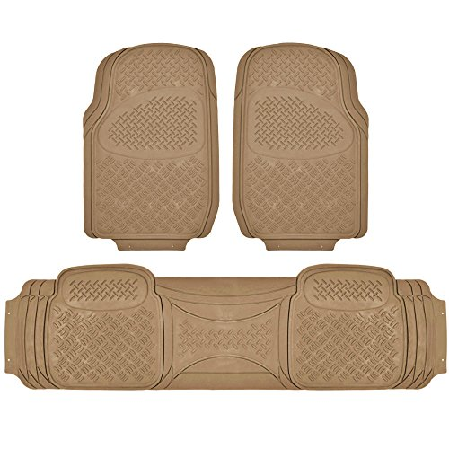 BDK MaxDuty Rubber Floor Mat for Car, SUV,Van & Truck - Super Heavy Duty Rubber , Trim to Fit & 3 Piece (Tan)