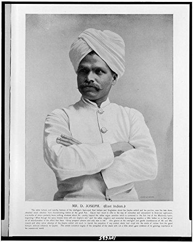 1893 Photo Mr. D. Joseph (East Indian.) / Franklin Co. Eng., Chi. Mr. D. Joseph, half-length portrait, facing left, in traditional Ceylonese costume. Location: Chicago, Illinois, Sri Lanka ()