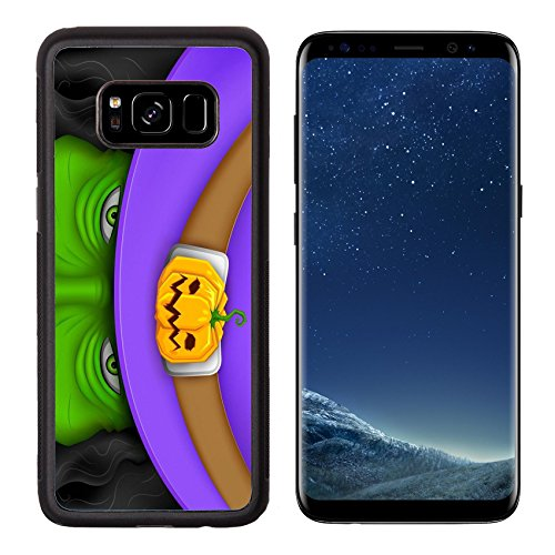 Luxlady Premium Samsung Galaxy S8 Aluminum Backplate Bumper Snap Case IMAGE ID 25737229 illustration of Halloween witch wearing pumpkin (T Mobile Halloween Costume)