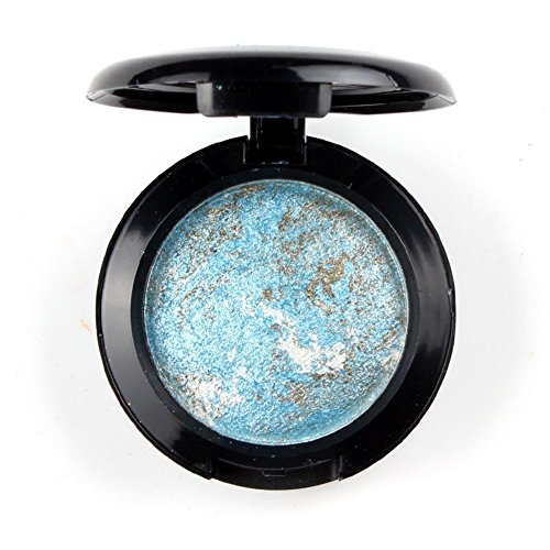 Mallofusa Single Color Baked Eye Shadow Palette Glitter Powder in Shimmer 12 Metallic Colors Optional (Ice (Ice Blue Rose)