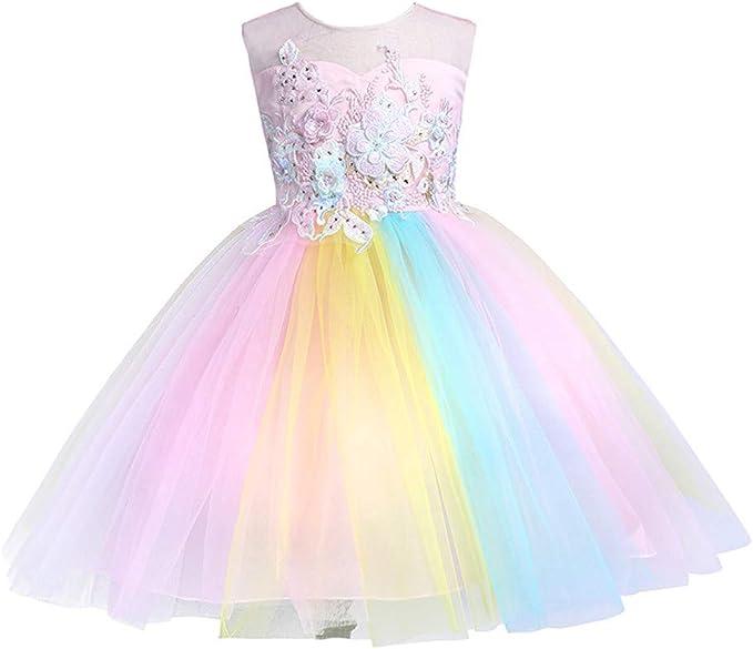 Girl/'s Rainbow Cloud Rain Print Summer Sleeveless Dress Cotton 4Y-7Y