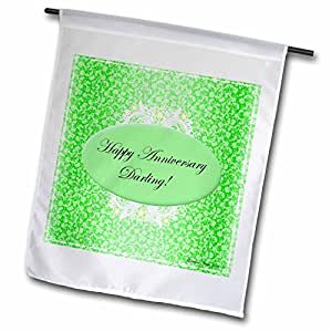 Edmond Hogge Jr Anniversarys - Green and White Anniversary - 12 x 18 inch Garden Flag (fl_38885_1)