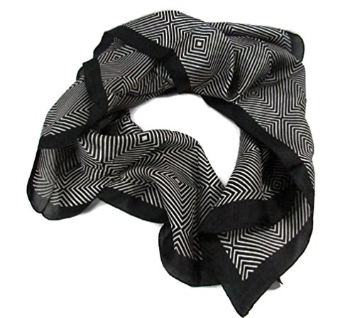 Indian Silk Scarf Women's Fashion Eco Friendly Fair Trade (Black & White Abstract, 35