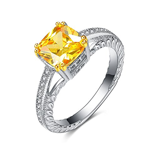 Princess Cut Cathedral Setting - UMODE 925 Sterling Silver Simulated Princess Cut Citrine Cathedral Engagement Wedding Ring Size 8