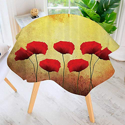 Philiphome Easy-Care Cloth Tablecloth Round-Poppies an Old Dated Aged Retro Featured Backdrop Past Drama Petals Great for Buffet Table, Parties, Holiday Dinner & More 59