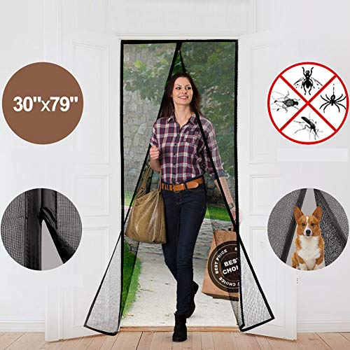 Magnetic Screen Door Curtains Durable Fiberglass Mesh Full Frame Screens with Velcro and Easy to Install Fit Doors Size Up to 30