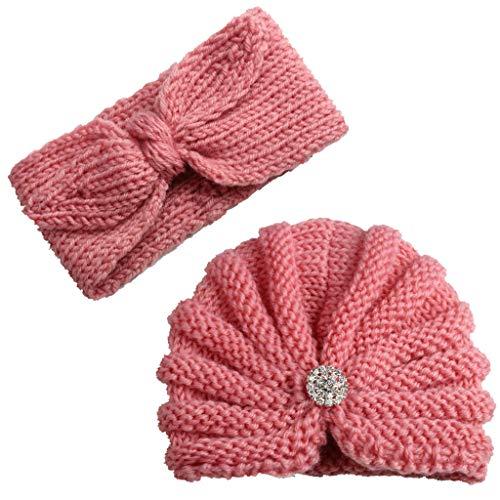 2Pcs Baby Boy Girl Beanie Cap Bowknot Headband, Iuhan Newborn Infant Toddler Knitted Turban Hat Hair Band Beanie Headwear Cap Sets for 0-2year Baby (2017 Popular Dinnerware)