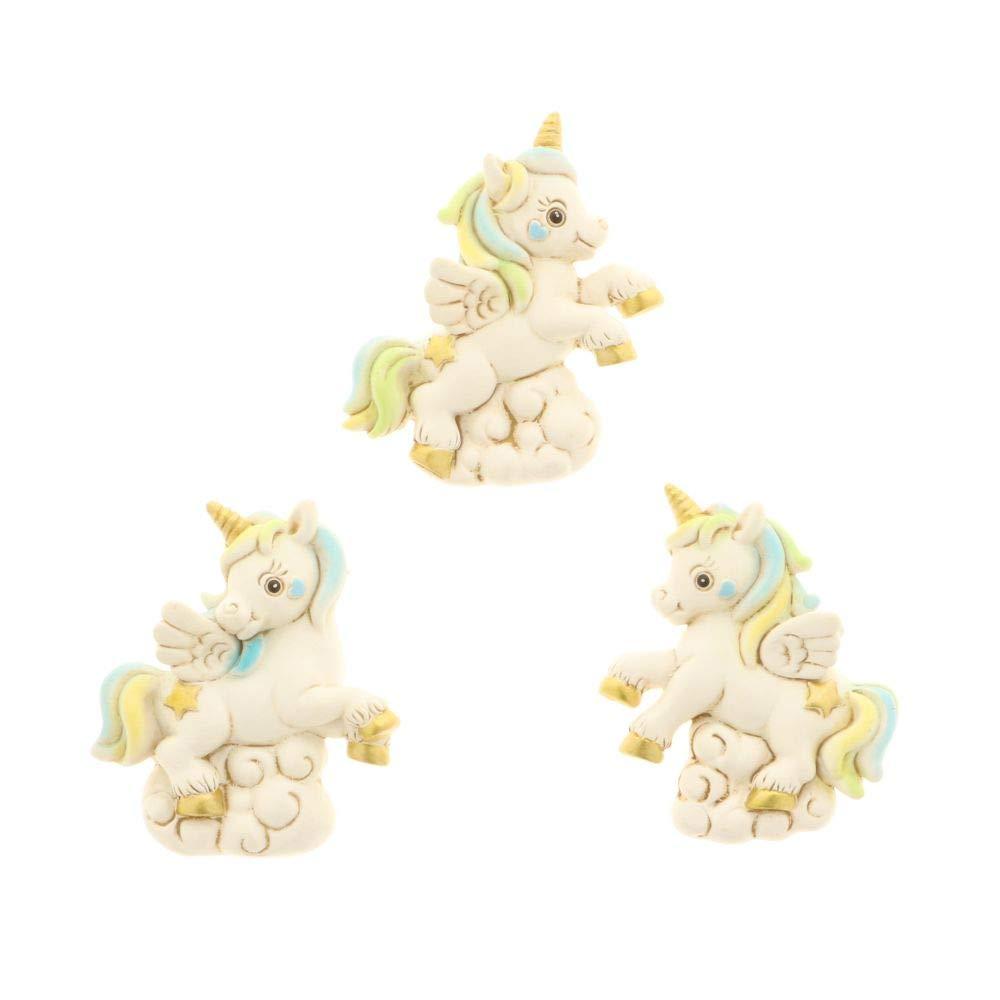 12 PZ PEGASUS Magnete Unicorno arcobaleno celeste resina BOMBONIERA