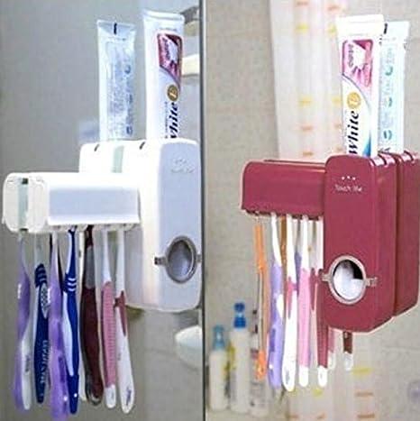 ULOOIE Dispensador automático del juego de baño cepillo dientes Conjunto Organización: Amazon.es: Hogar