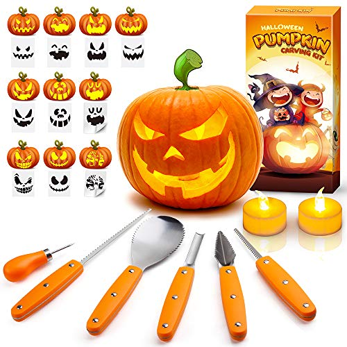 EPLST Halloween Pumpkin Carving Kit, 6 Pieces Heavy Duty Professional Stainless Steel Carving Tools Set for Halloween Decorations, Included 2 LED Candles & 10 Carving Stencils, Easily Sculpting