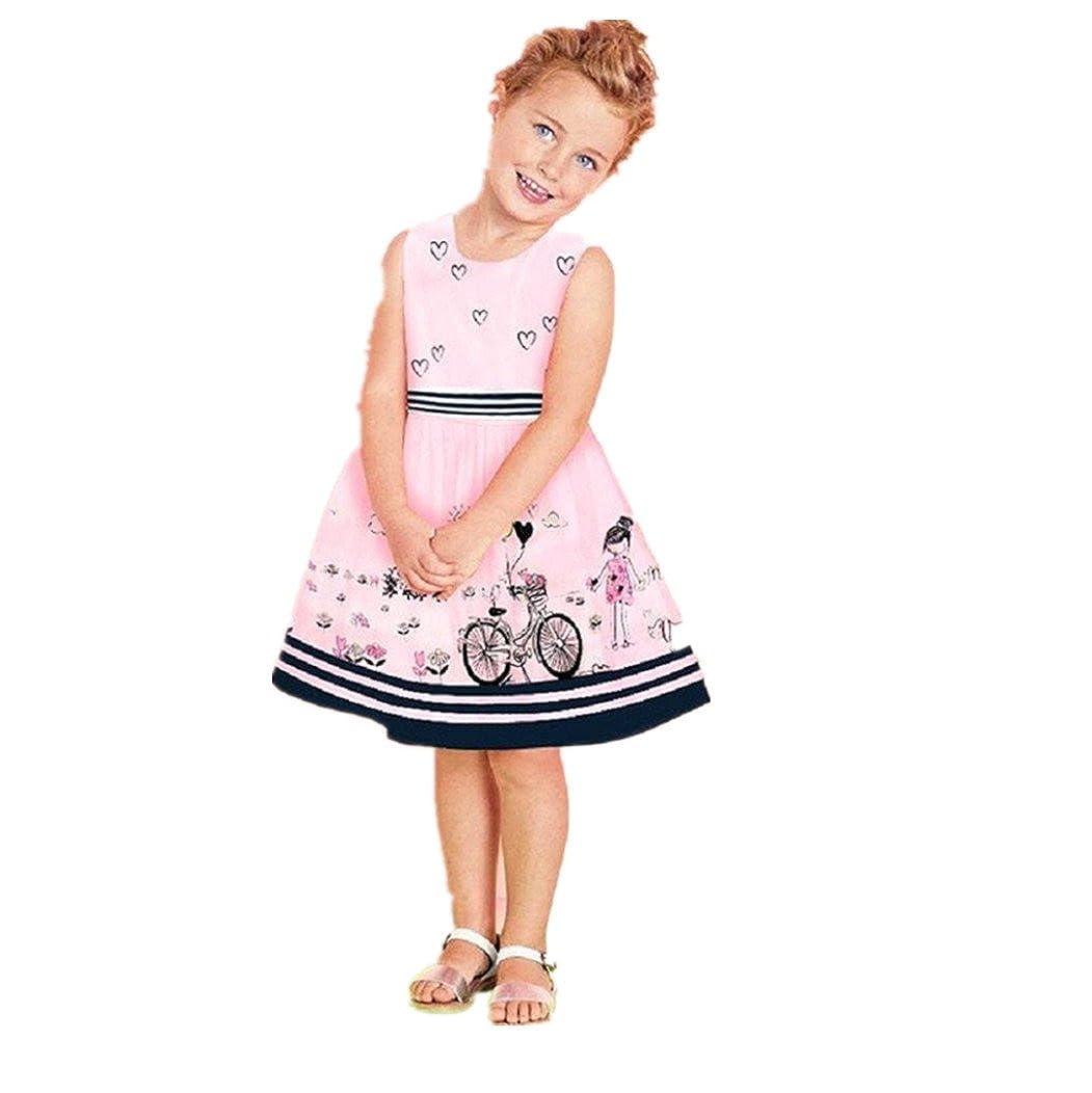 Koly Niñito Vestido de bebé Chicas Rosado Sin mangas Vestido de fiesta de la princesa