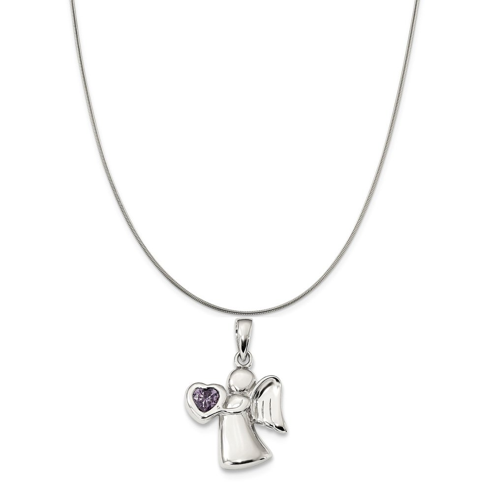Snake or Ball Chain Necklace Sterling Silver Angel With Light Purple Synthetic CZ Heart Pendant on a Sterling Silver Cable