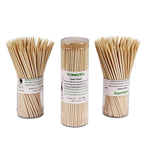 Natural Bamboo Skewers 6 Inch for Appetizer, Cocktail, Kabob, Chocolate Fountain, Fruit. Premium Barbecue Tools - No Splits and Debris, Suitable for Kitchen, Party, Grilling. 600 PCS (3 Packs of 200) by TONGYE (Image #4)