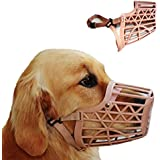 Basket Cage Dog Muzzle Size 1 -XX SMALL - Adjustable Straps - BEIGE, by Downtown Pet Supply