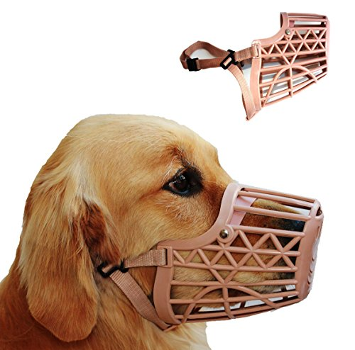 Basket Cage Dog Muzzle Size 5 - LARGE - Adjustable Straps - BEIGE, by Downtown Pet Supply