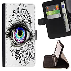 - Beautiful Eye Eyes Girl - - Style PU Leather Case Wallet Flip Stand Flap Closure Cover FOR HTC One M9 - Devil Case -