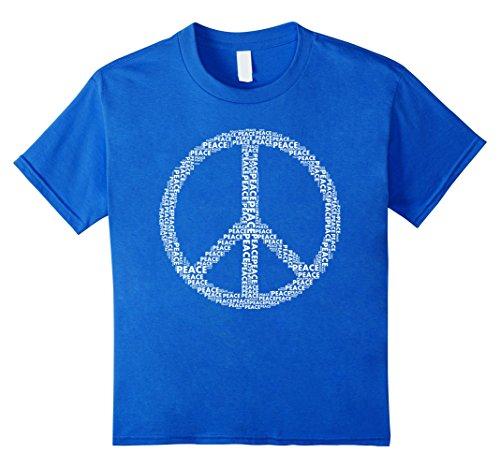 Kids Peace Sign T Shirt Love All World Peace Tshirt 8 Royal Blue