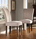 ModHaus Modern Light Gray Chenille Fabric Parsons Style Dining Side Chairs | Wood Finish Wooden Legs - Set of 2 Includes ModHaus Living (TM) Pen