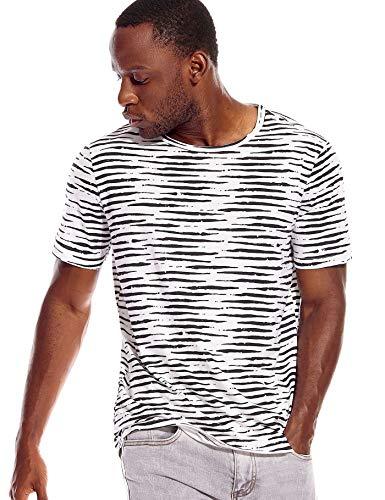 (Zebra T Shirt Men Black White Striped Print Pattern Shirt Crew Neck Tee Stripe L)