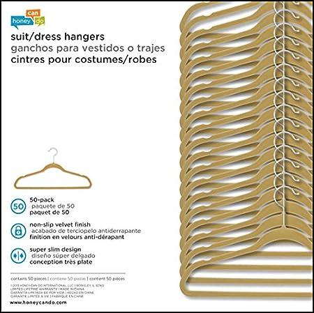 Black 2-Pack Honey-Can-Do HNG-01090 Suit//Shirt//Dress Shoulder Savers Velvet Touch Hanger