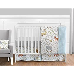 Blue, Grey and White Woodland Deer Fox Bear Animal Toile Unisex Baby Bedding 11 Piece Crib Set Without Bumper