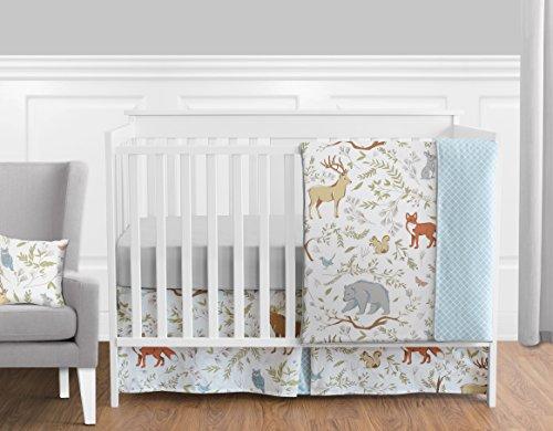 Sweet Jojo Designs 11-Piece Blue, Grey and White Woodland Deer Fox Bear Animal Toile Girl or Boy Baby Bedding Crib Set Without Bumper