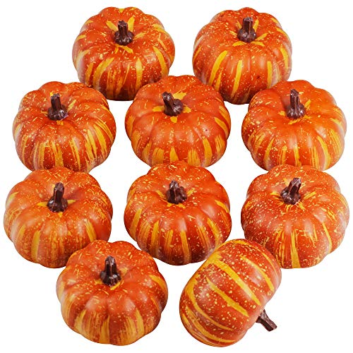 Supla 10 Pcs Artificial Pumpkins Fake Foam Pumpkins Mini Small Pumpkins Bulk Fall Party Table Fireplace Decor Wreath Craft Harvest Halloween Pumpkins Thanksgiving Centerpieces Autumn Wedding Decor