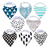 Baby Bandana Drool Bibs Organic 8 Pack for Boys and Girls 100% Absorbent Soft Cotton Bandana Baby Bibs for Teething Feeding
