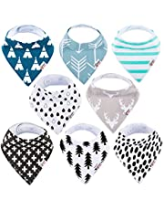 Baby Bandana Drool Bibs Organic 8 Pack for Boys and Girls Absorbent Soft Cotton Bandana Baby Bibs for Teething Feeding