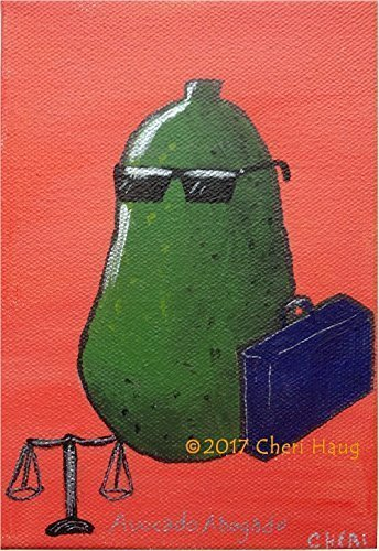 Avocado Abogado 2 is Original Wall Art Décor by American Artist from Wisconsin 4 Home/Kitchen/Kids Room/Law Office - Colorful Orange Painting Blue Brief Case & Black Sunglasses Small & Funny