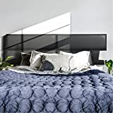 GreenForest Upholstered Headboard Tiles Full/Queen Size PVC Headboards Accent Wall Panels Pack of 4 Tiles for Bedroom, Black