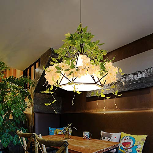 Spice Semi Flush - Noble.store - Chandelier Chandelier Creative Flower Green Chandelier Restaurant Bar Internet Cafe Balcony Plant Decoration LED Personality Chandelier (Color : B)