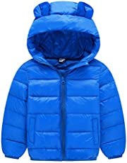 AIEOE Girls Boys Winter Coat Packable Puffy Padded Outerwear Zip Up Hooded Jacket 2-7T