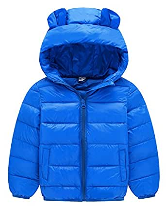 Happy Cherry Unisex Outerwear Boys Girls Puffer Padded Cotton Jacket Long Sleeve Zipper Up Hooded Jacket Coat 4-5T Blue