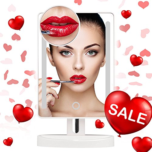 Makeup mirror with led light,My Canary Natural White light vanity mirror with 3.5in 10x Magnification spot Mirror,Desk mirror with battery /USB powered,Adjustable Brightness,360° - My Eye Frames Best For Face