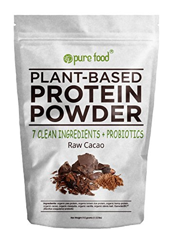 Pure-Food-The-Healthiest-Plant-Based-Protein-Powder-with-Probiotics-Organic-Clean-All-Natural-Vegan-Vegetarian-Whole-Superfood-Nutritional-Supplement-Raw-Cacao-Chocolate-512-Gram-Pouch
