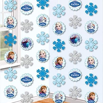 NEW DESIGN Disney Frozen Snowflake Hanging String Decorations x 6